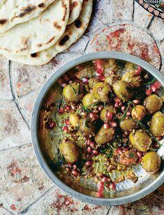 Olives marinated with walnuts and pomegranates