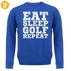 Eat Sleep Golf REPEAT - Unisex Pullover/Sweatshirt - Royalblau - XXL (*Partner-Link)