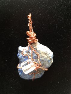 raw lapis lazuli pendant wire wrapped