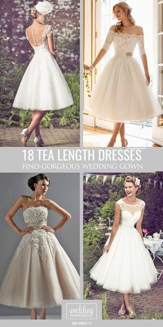 18 Gorgeous Tea Length Wedding Dresses ❤ Owners of tea length wedding dresses look stylish, romantic and feminine. See more: http://www.weddingforward.com/tea-length-wedding-dresses/ #wedding #dresses
