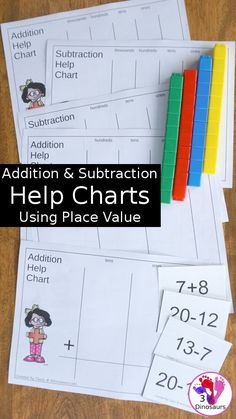 Free Place Value Mats for Addition & Subtraction - 3 mats for addition and subtraction with different levels of place value. - 3Dinosaurs.com #addition #subtraction #mathelp #3dinosaurs #freeprintable