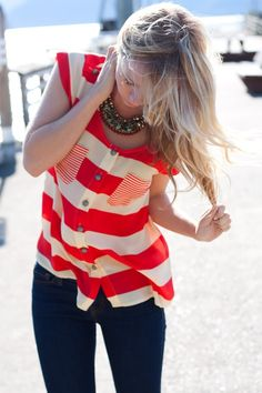 Shirt red and white