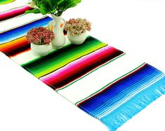 White Mexican Table Runner 13x72 Inches, Authentic Serape Fabric, FREE SHIPPING