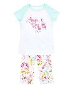 Another great find on #zulily! Mint 'Never Give Up' Tee & Capri Pants - Infant, Toddler & Girls #zulilyfinds