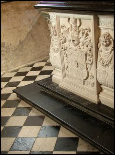 Black and white harlequin floor Farleigh Hungerford Castle
