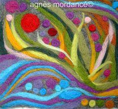 agnès mordancé© feutre d'art - laine feutrée motifs piquetés à l'aiguille, needle felted art