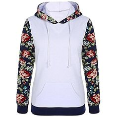 SYTX Womens Floral Print Pullover Hooded Fleece Sweatshirts Coat >>> Want to know more, click on the image. (This is an affiliate link) #FashionHoodiesSweatshirts