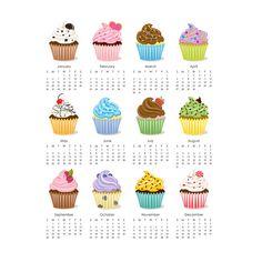 Cupcake 2014 Calendar printable 8x10 by eloycedesigns on Etsy, $4.00