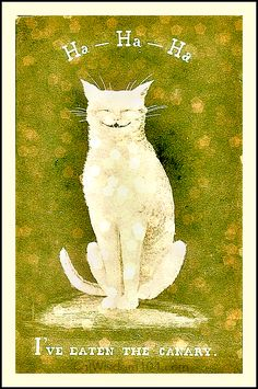 Vintage cat print of a smiling cat.