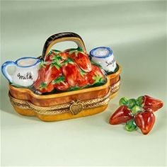 Limoges Strawberry Basket Box with Cream and Sugar Box The Cottage Shop