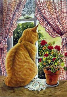 Cat in the window painting. Gwendolyn Babbitt