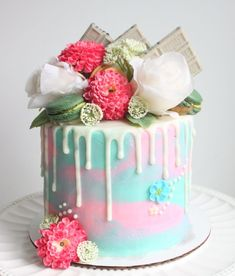 Pink and Blue Drip Cake Pink Birthday Cakes, Beautiful Birthday Cakes, Beautiful Wedding Cakes, Beautiful Cakes, Cake Decorating Piping, Cake Decorating Designs, Blue Drip Cake, Peony Cake, Macaron Cake