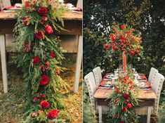 Create a super lush tablescape with a runner made from fragrant pine tree leaves and red roses.