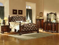Heavy pilasters are topped with carved finials on the tufted dark brown bonded leather headboard and footboard of this Orleans Traditional Poster Bed. Available in queen and eastern king sizes. Leather Headboard, Leather Bed, Headboard And Footboard, Bonded Leather, Brown Leather, Master Bedroom Set, Bedroom Sets, Queen Bedroom, Upholstered Platform Bed