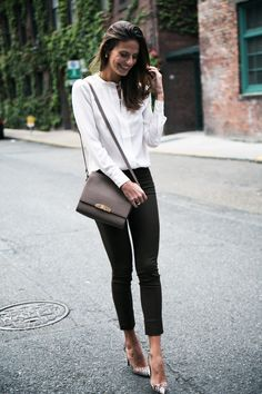 Simple and Elegant for Fall. Silk blouse + skinnies. Want that bag! #cuyana #fallfashion