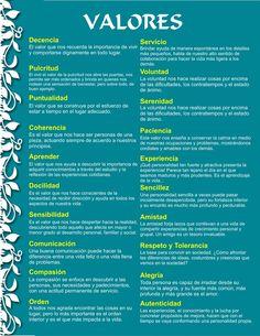 Calendario de valores, para cada mes, un valor :) Moral, Personal Development, Counseling, Spanish Class, Teaching Spanish, Coaching, Learning, Good Habits, Self Improvement