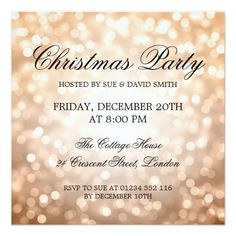 Elegant Christmas Party Silver Glitter Lights Invitation Party