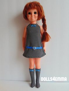 """""""RETRO BLUE"""" - Dress and Boots for 18"""" Ideal doll: CRISSY. Available on eBay: by dolls4emma"""