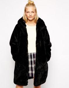 Monki Faux Fur Hooded Jacket