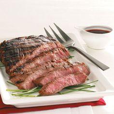 Grilled Flank Steak Recipe http://www.tasteofhome.com/Recipes/Grilled-Flank-Steak-4