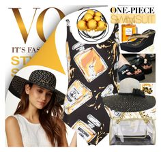 """""""One-piece swimsuit"""" by yours-styling-best-friend ❤ liked on Polyvore featuring San Diego Hat Co., Chanel, GUESS, Betsey Johnson, August Accessories, FitFlop and Moschino"""