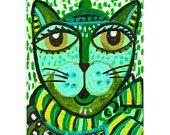 Cat Art Whimsical Art Childrens Room Decor by AGirlAnOwlAndACat