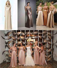 platinum and golden bridesmaid dresses