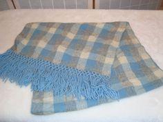Vintage Baar & Beards Japan 100% Wool Blue & Gray Plaid Stole Scarf Hand Knotted #BaarBeards #StolePashmina