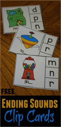 FREE Ending Sounds Clip Cards! Grab a copy in color or black and white to make phonics, reading, and listening for letter sounds fun for prek, kindergarten, and first grade kids. Kindergarten Freebies, Kindergarten Language Arts, Kindergarten Centers, Alphabet Activities, Kindergarten Worksheets, Kindergarten Activities, Work Activities, Reading Activities, Letter Sound Activities