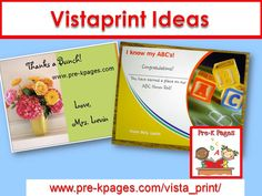 VistaPrint ideas and creations for your preschool, pre-k, or kindergarten classroom.