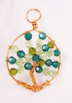 Wire Wrapped Copper Tree of Life Pendant Necklace  Summer