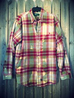 Super soft grunge bleached flannel unisex shirt boho, gypsy,  XLarge