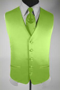 lime green mens vest | Mens Suit Tuxedo Vest Necktie Solid Lime Green Large