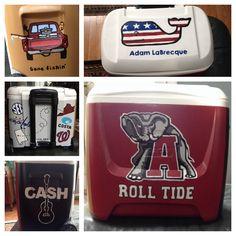 Alabama cooler I made for my boyfriend! Fraternity Formal, Fraternity Coolers, Frat Coolers, Formal Cooler Ideas, Diy Cooler, Cooler Designs, Cooler Painting, College Board, Keep Cool