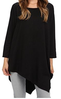 7f92e142d17a Lolichy Black Tunic Tops for Women 3 4 Long Sleeve Cotton Tunic for  Leggings 2XL