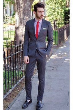 gray ted baker suit - ruby red Topman tie