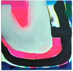 Durch die Mitte, 2015, 40 x40 cm, Leinwand, Tusche und Acryl, Birgit Nagengast, München