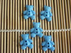Boutons nounours plastique bleu turquoise, vendus par 5. : Boutons par laboiteabijouxnanny