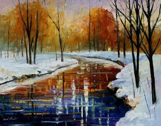 "Winter Energy — PALETTE KNIFE Landscape Modern Wall Art Textured Oil Painting On Canvas By Leonid Afremov - Size: 30"" x 24"" (75 cm x 60 cm)"