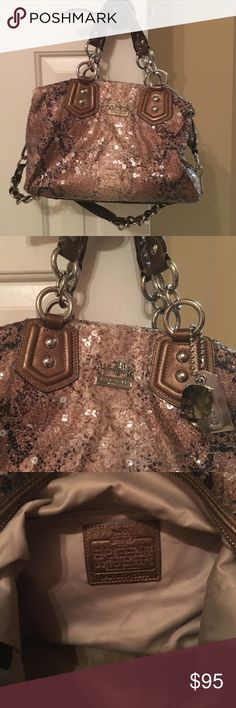 Croc Style Sequined Coach Bag Beautiful bronzed tones of python print coach bag with topaz jewel embellishment. Silver hardware. Inside of bag has normal wear condition for a diva in the go.  Outside of bag has a few sequins missing but looks amazing. Coach Bags Satchels
