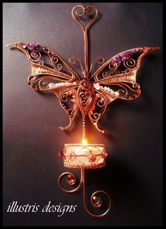 Wire wrapped Butterfly candle holder with door illustrisdesigns