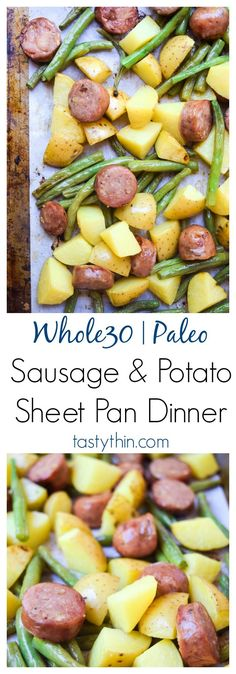 Sausage & Potato Sheet Pan Dinner (Paleo Whole30) - this super simple one pan dinner is healthy and family-friendly, a weeknight winner!   tastythin.com