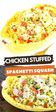 Chicken stuffed spaghetti squash is taken to a whole new level in this easy recipe. It is stuffed with veggies and flavored with pesto for a healthy dinner. 230 calories and 5 Weight Watchers SP | Healthy | Easy | Recipes | SmartPoints | Clean Eating | Italian | Mediterranean #spaghettisquash #chickenrecipes #squashrecipes #cleaneating #healthydinners #weightwatchers