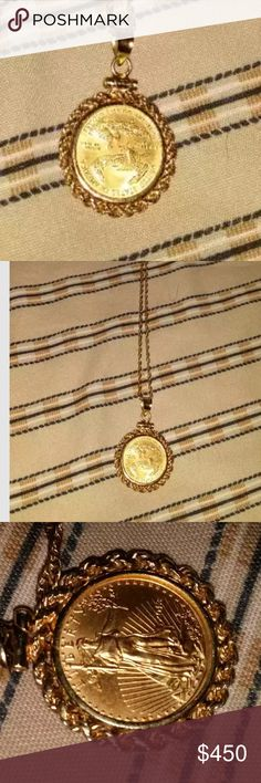 14k Italy 5 dollar 1/10oz 2013 fine gold coin In good condition Italy 14k fine gold Bullion charm pedant year 2013 it has in small line in the pedant not too noticiable see the pics for more accurate description I bought it like that the weight is 7 grams in both pieces the length is 18 very expensive piece I did take it to a jewelry to know exactly the weigt and karate italian Jewelry Necklaces