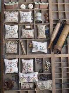 Love the pincushions Printers tray Cross Stitch Samplers, Cross Stitching, Cross Stitch Embroidery, Cross Stitch Designs, Cross Stitch Patterns, Letterpress Drawer, Printers Drawer, Shadow Box Art, Cross Stitch Finishing