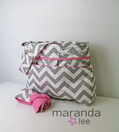 Christmas wish list Stella DELUXE Chevron Diaper Bag Set with Outside by marandalee, $145.00