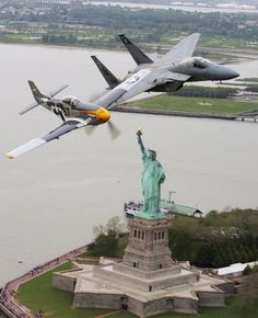 AIRPLANES OVER NEW YORK CITY - P-51 & F-15