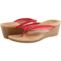 VIONIC with Orthaheel Technology Ramba Women's Sandals, Red ($50) ❤ liked on Polyvore featuring shoes, sandals, red, platform thong sandals, platform sandals, wedge sandals, wedges shoes et red sandals