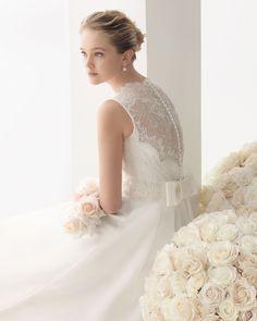Rosa Clara - 2014 Bridal Collection - 162 / MILAN Organza and lace dress with beading and flower in a natural colour.