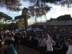 It's day 1 for the Autodesk volunteers in Kayamandi, South Africa. They're introducing themselves to the students of Makupula High School in the Monday morning assembly